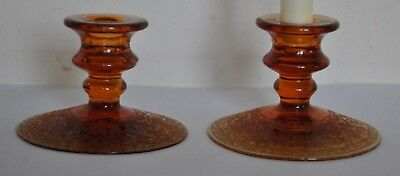 Walther and Sohne Glass Germany Amber Candle Holders Foot Acid etched.