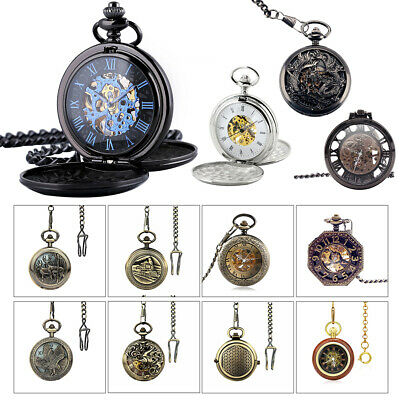 Men's Retro Pocket Watch Open Face Skeleton Steampunk Dragon Eagle Mechanical AU