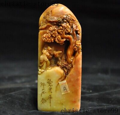 Chinese natural Shoushan Stone Carved Old Man landscape Shanzi Seal stamp signet