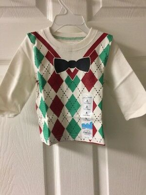 NWT Baby Boys Christmas Holiday Long Sleeve Shirt  Sz 3 Mo