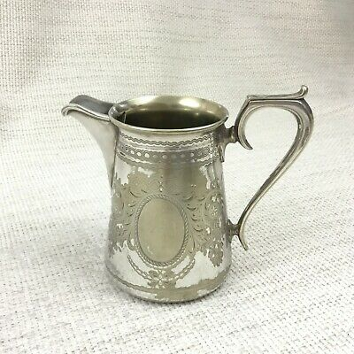 Antique Creamer Milk Jug English Silver Plate Victorian Small Dainty