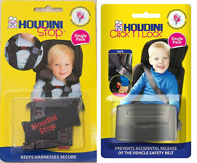 New Houdini Stop & Click N Lock Car Seat Safety Harness Chest Kids Baby Strap
