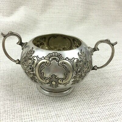 Antique Silver Plated Sugar Bowl Twin Handled Victorian Repousse Decoration