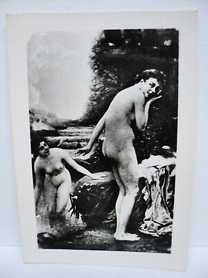 "PHOTO ANCIENNE TABLEAU EROTIQUE SALON DE PARIS J. SCALBERT ""PEUREUSE"" c.1910"