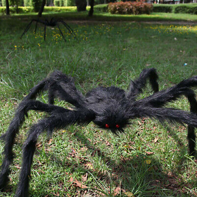 Scary Hairy Giant Spider Halloween Party Prop Haunted House Decor 90/150CM US