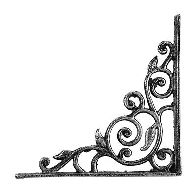Shelf Bracket Black Cast Iron Ornate Vine Pattern Deep Brace X4Q5
