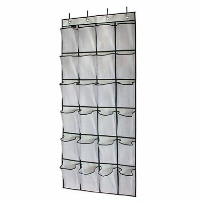 Over The Door Shoe Organizer 24 Large Mesh Pockets White L8X4