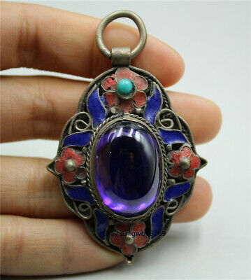 Collection Tibetan silver cloisonne handwork Carved flower inlaid zircon pendant