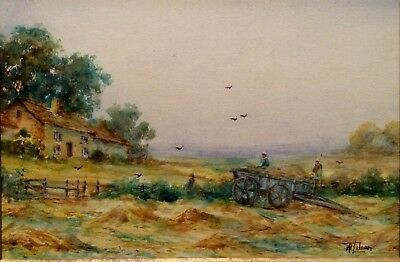 """""""Cornfields"""" Kent County England Watercolor signed T.H. Lilian painting Antique"""