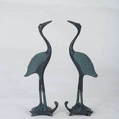 Chinese Bronze Hand-carved Double  Bird & Tortoise Statue