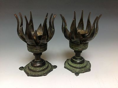 A Pair old Chinese Bronze Statue -- Lotus sets