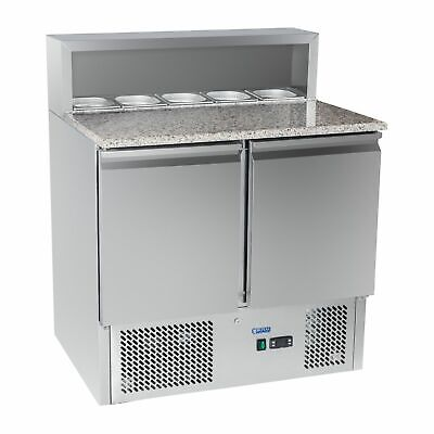 Commercial Food Pizza Prep Counter Fridge Display Refrigerated Saladette Worktop