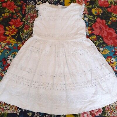 Mayoral Age 7 Girls Summer Broderie Anglaise White Dress Holiday Spanish