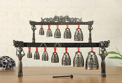 Vintage Oriental Asian chinese Bronze bells Chinese Tibet dragon glockenspiel