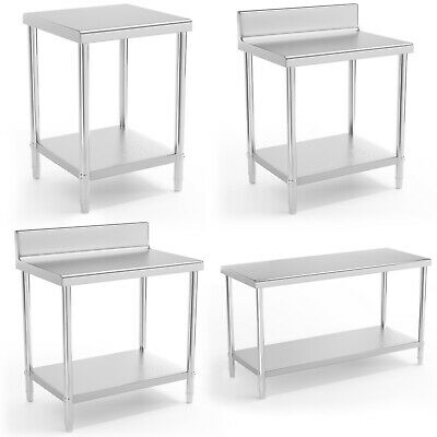 Stainless Steel Work Tables Commercial Kitchen Prep Tables Upstand 150-230kg