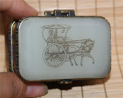 Collection Exquisite Chinese hand-carved Carriage pattern Jade box