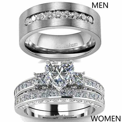 Couple Rings Titanium Steel Mens Wedding Bands Heart CZ Womens Wedding Ring Sets