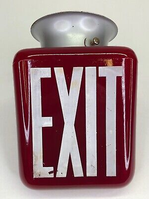 Vintage Exit Sign Ceiling Light Fixture Ruby Red Movie Theatre Double Sided