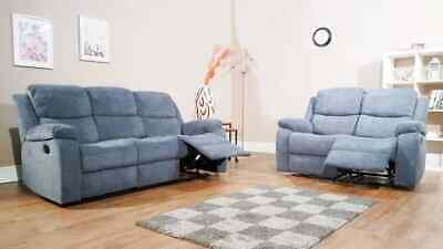 3 SEAT & 2 Seater Sofas Suite In Grey Fabric (Boardwalk