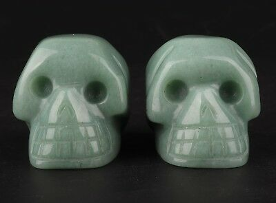 2 Natural Dongling Jade Hand Carving Skull Statue Exorcism