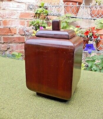 Lovely Treen Solid Mahogany Vintage Tea Caddy~Container~Maybe Tobacco Jar
