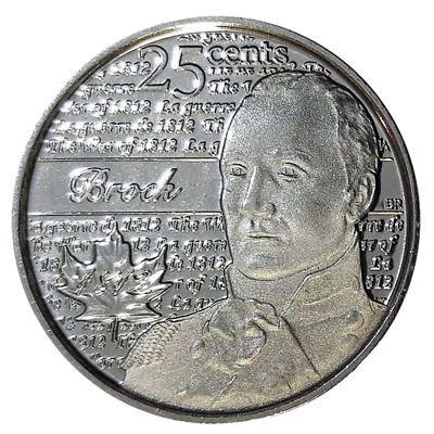 Canada quarter 25 cents coin, The War of 1812, Sir Isaac Brock, 2012