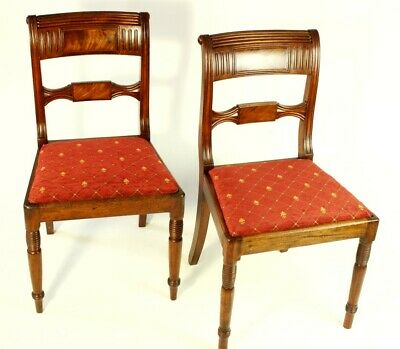 Pair of Antique Sheraton Flamed Mahogany Bar Back Dining Chairs [5445]