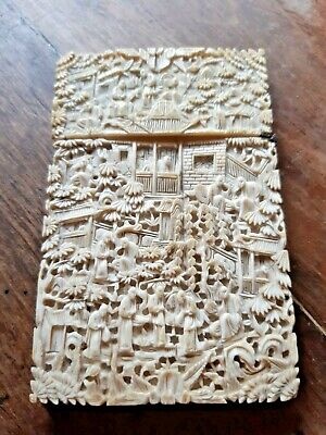 Large Antique Chinese Carved Canton Card Case 19th Century Qing Victorian
