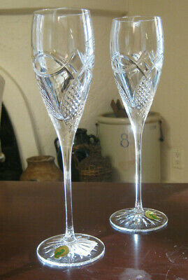 Pair of Waterford Celtic Knot Champagne Flutes - Cut Crystal - Stunning Glasses!