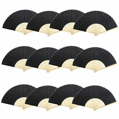 12pcs Lot of Chinese Foldable Bamboo Handcrafted Foldable Fan & Fabric Danc C3V2