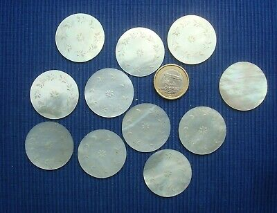 B23 Lot 11 jetons Nacre XIX Gravés Chine Mother of Pearl Gaming chip