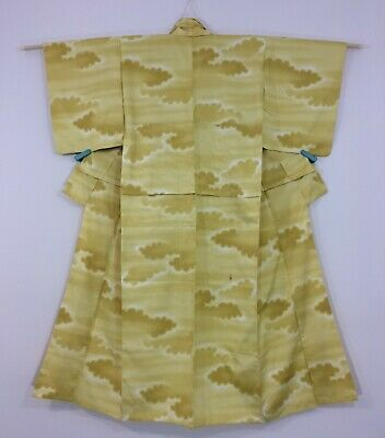 Japanese women's kimono, yellow silk, small-medium, Japan import (J2706)