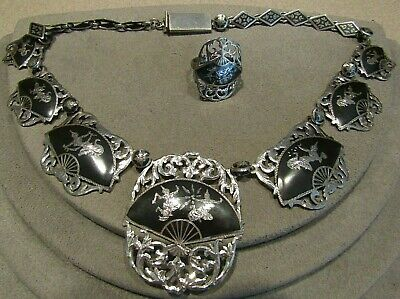 Vintage Sterling Silver Siam Niello Black Enamel Dancer Filigree Necklace Ring