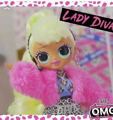 """1 LOL Surprise Series OMG LADY DIVA 10"""" Fashion Doll Big Sister Clothing In Hand"""
