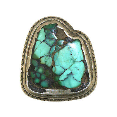 (2564) Antique Tibetan Turquoise Set in Silver and Copper
