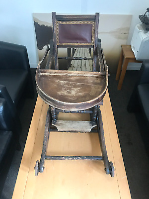 Antique Rocking Metamorphic Victorian High Chair With Wheels