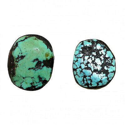 (2557) Antique Pair of Tibetan Turquoises Set in Silver and Copper
