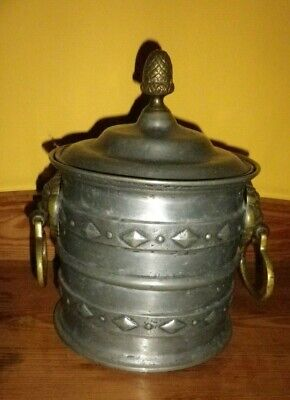 Very special pewter Ice bucket with brass lion handles and thermos lining