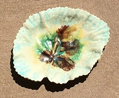 1880's Etruscan Griffin Smith & Hall Aesthetic Majolica Green Begonia Leaf Plate