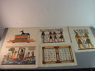 Papyrus Egyptian Painting Hand-Painted Signed Art Hieroglyphic Isis Anubis Egypt