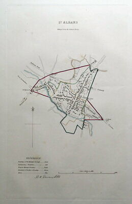 St. ALBANS, HERTFORDSHIRE Street Plan, Dawson Original antique map 1832