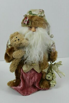 Santa Claus Tree Topper Pink and Gold Holding Teddy Bear and Bells Faux Fur 13.5