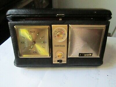Vintage Aimor Travel Alarm Clock And Transistor A/M Radio In Leather Case Nice