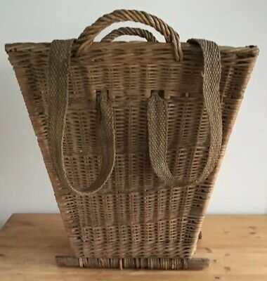 Rare, Antique, Twin Handled, Twin Strap, Strong Wicker, Carrying Log Basket