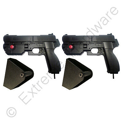 2 x Pack Ultimarc AimTrak Black Arcade Recoil Light Guns & Side Holsters PC MAME