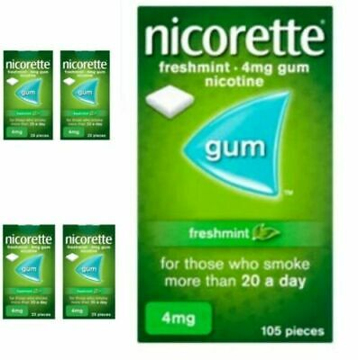 5 boxes  x Nicorette Freshmint Chewing Gum, 4 mg, 25 Pieces (Stop Smoking Aid)