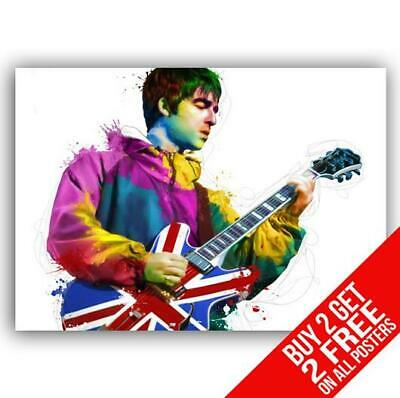 Noel Gallagher Oasis Guitar Poster Art Print A4 A3 Size - Buy 2 Get Any 2 Free