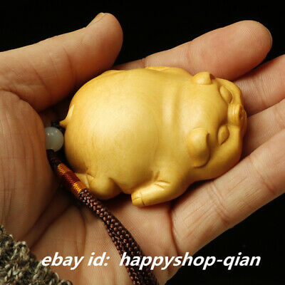 6*5*2.2cm Chinese Box-wood Hand-carved Zodiac lovable Animal Lucky Pig Statue生肖猪