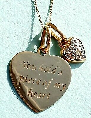 9Ct Gold Diamond Accent Message Heart Pendant