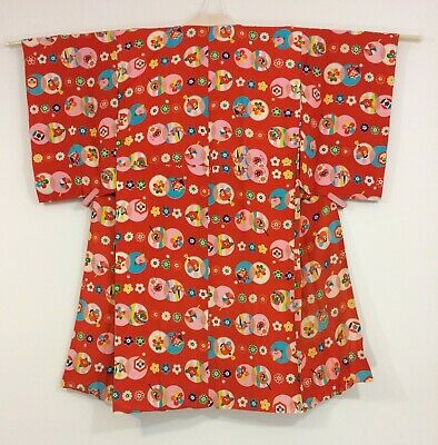 Japanese women's juban, for kimono, red, vintage, Japan import (K2708)